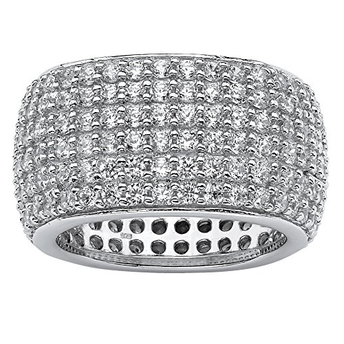 Pave White Cubic Zirconia .925 Sterling Silver Multi-Row Eternity Band Size 6 (Pave Sterling Silver Band)