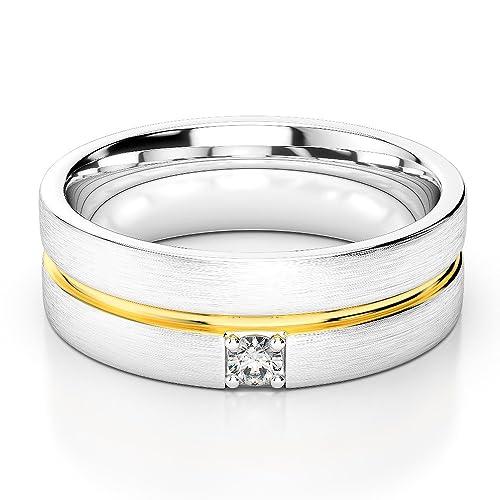 AG & Sons Unisex Hombre 750 Gold Oro blanco y amarillo, 18 kt redonda