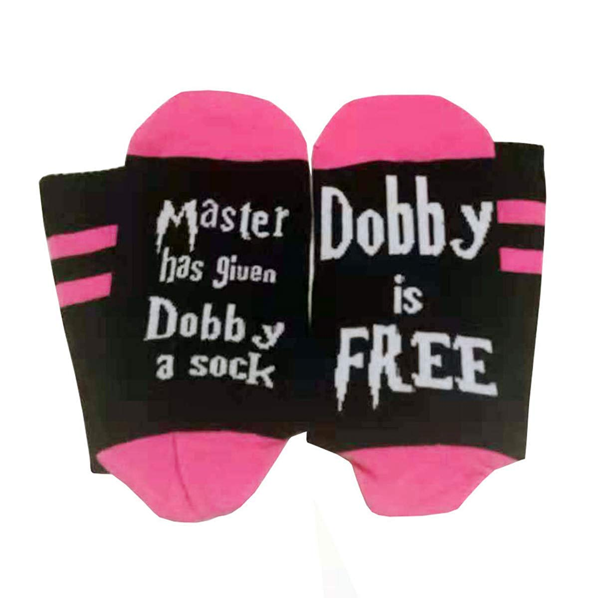 NO& DISTURB Master Has Given Dobby a Sock Dobby is Free Harry Potter Funny Crew socks Gift (Pink) HY-socks001