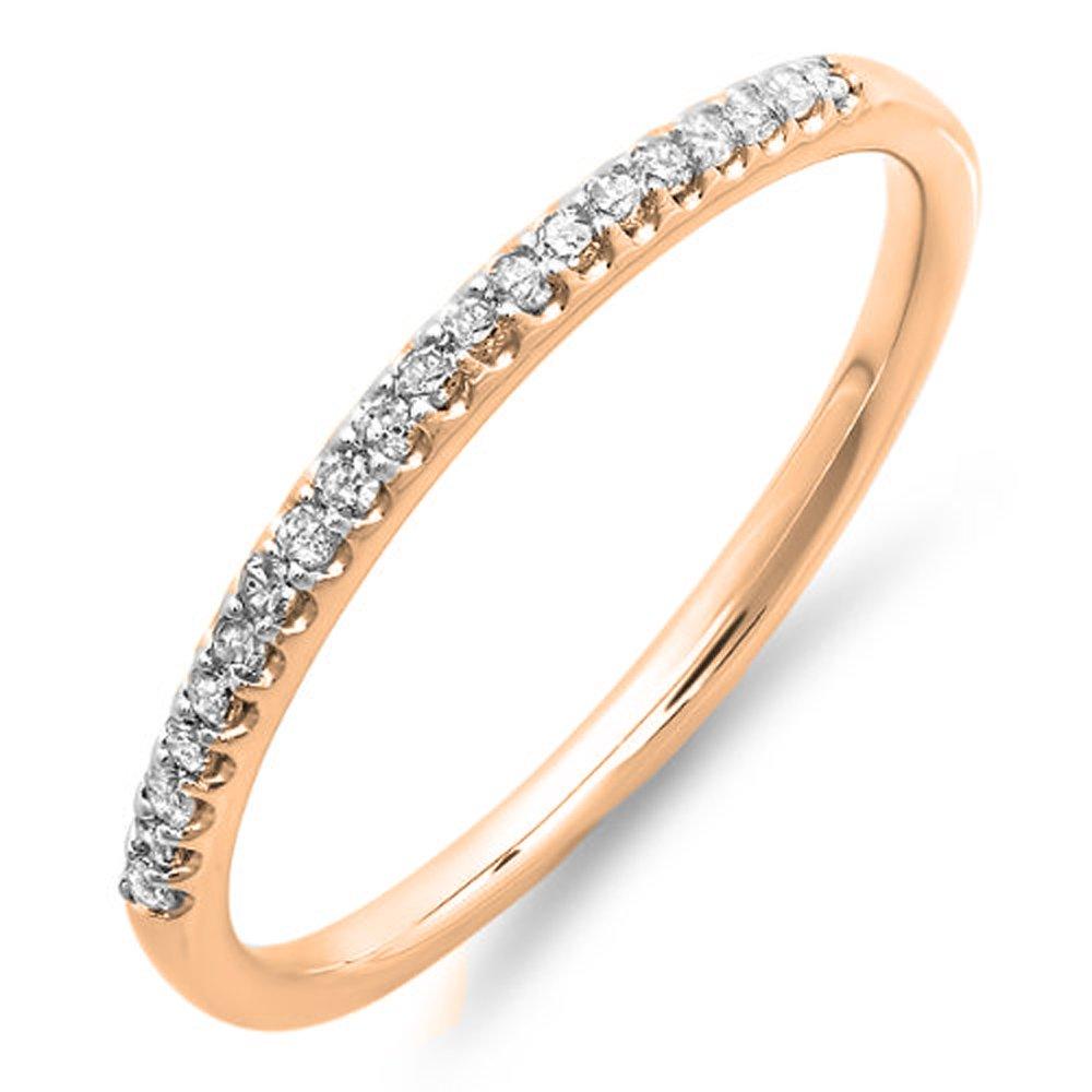 0.15 Carat (ctw) 14K Rose Gold Diamond Ladies Dainty Anniversary Wedding Stackable Band (Size 7.5)