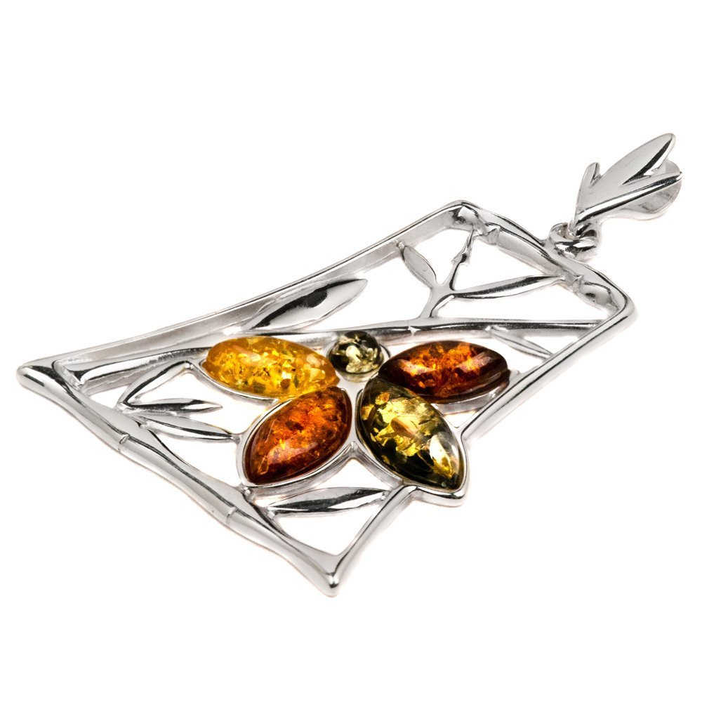 Sterling Silver Amber Leaf and Flower Pendant