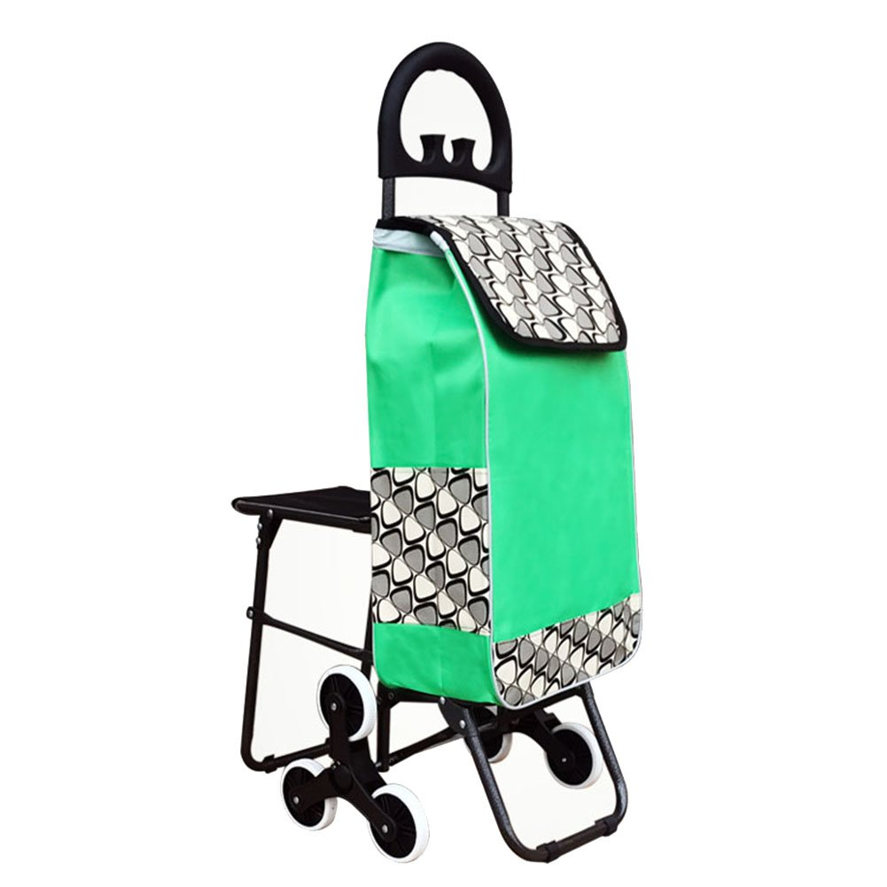 ZGL トラック ショッピングカートポータブルシニア小物カートは、椅子トロリーで折り畳むことができます家庭引っ張り棒の車はエスコートトロリーを保存します (色 : 緑) B07D46C9HW  緑