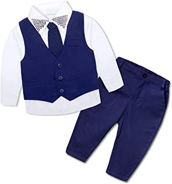 Pants Formal Wear Outfits Clothes BOBORA Baby Boy Gentleman Suit Stars Long Sleeve Shirt Vest