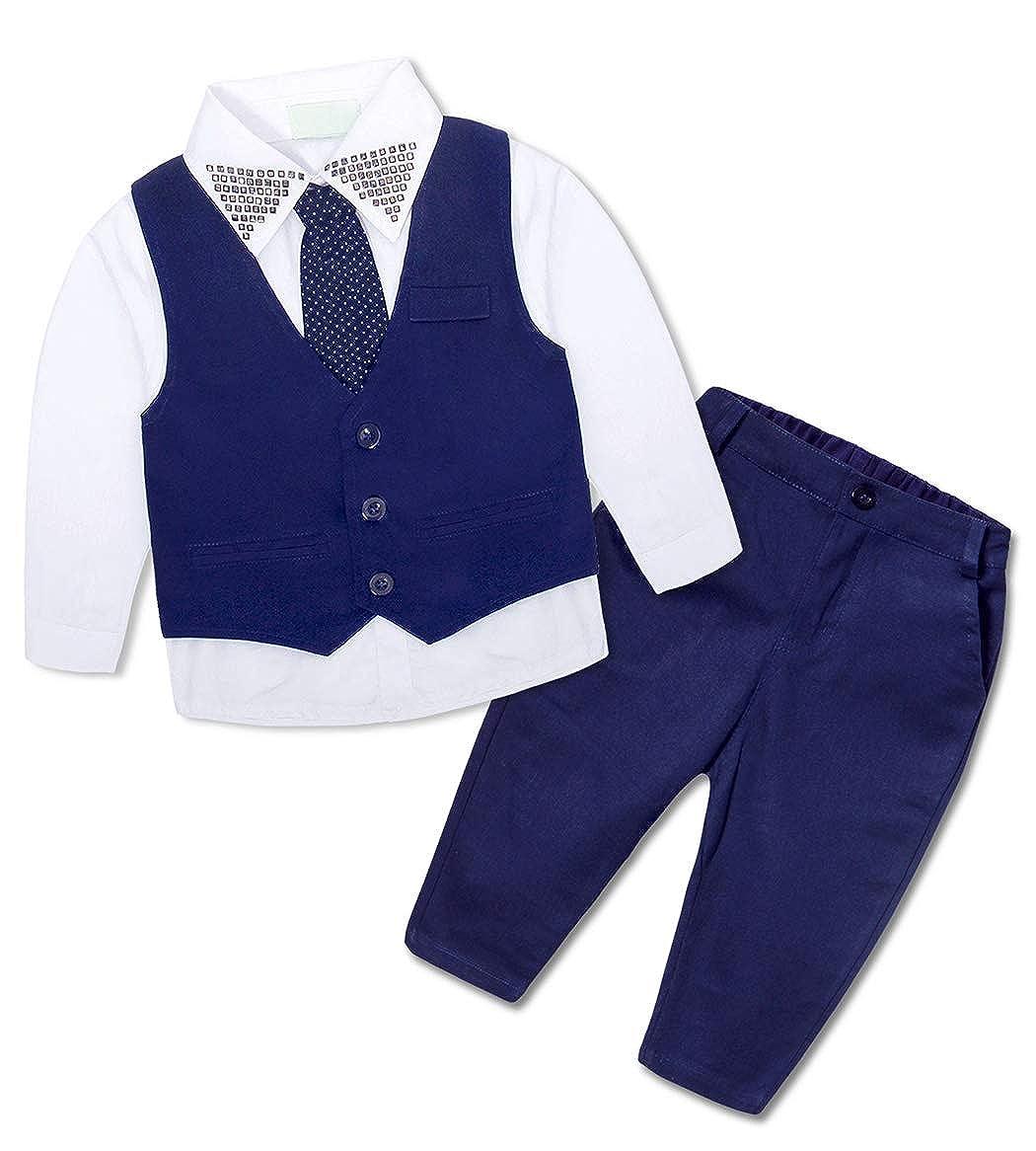 HenzWorld Boys Formal Suit Shirt Vest Waistcoat Pants Tie Party Wedding