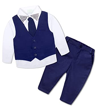 7019e4f073cf AmzBarley Baby Boys Vest Suits for Toddler Kids Gentleman Waistcoats Pants  White Shirts Tie Party Outfits