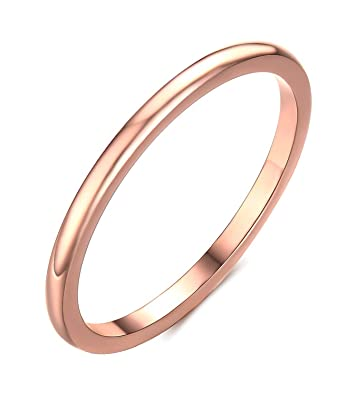 2mm Titanium Thin Ring Rose Gold Engagement Wedding Band for Women Si3ephXx