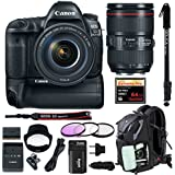 Canon EOS 5D Mark IV Full Frame DSLR Camera EF 24-105mm f/4L IS II USM Lens with Canon Battery Grip BG-E20 & Spare Battery + Sandisk 64GB Extreme Pro Compact Flash Memory Card + Monopod & Full Bundle