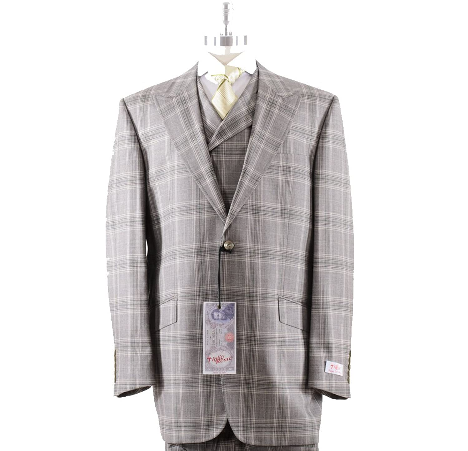 1920s Mens Suits Tiglio Rosso San Giovesse Taup/Green Plaid $399.00 AT vintagedancer.com