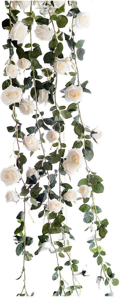 Get Orange 72 Inch Rose Garland Artificial Rose Vine with Green Leaves Flower Garland for Home Wedding Decor (1, White)