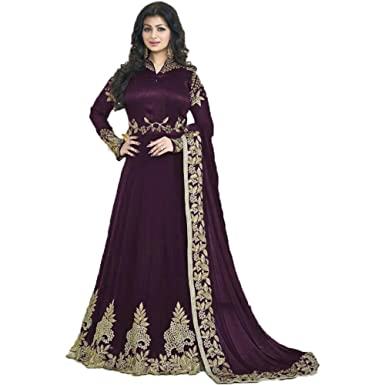 0ddc22b5a1 Image Unavailable. Image not available for. Colour: Vivaa Fashion Ayesha  Takia Violet Georgette Designer Anarkali Suit VFKF917