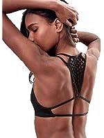 Victorias Secret Seamless Crochet Racerback Bralette (Small, Black)