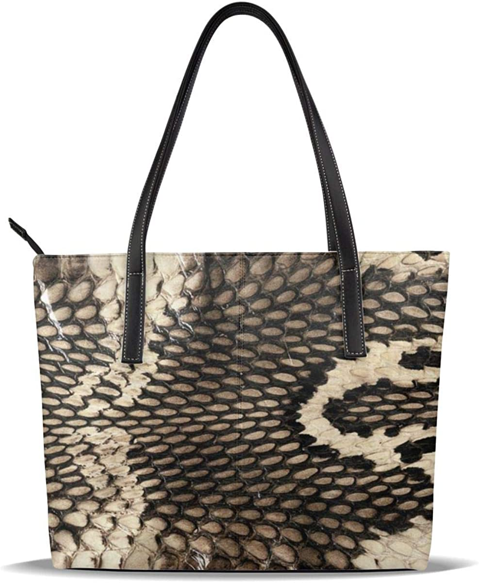 Cobra Snake Skin Handbags For Women Fashion Ladies PU Leather Top Handle Satchel Shoulder Tote Bags-Large Capacity