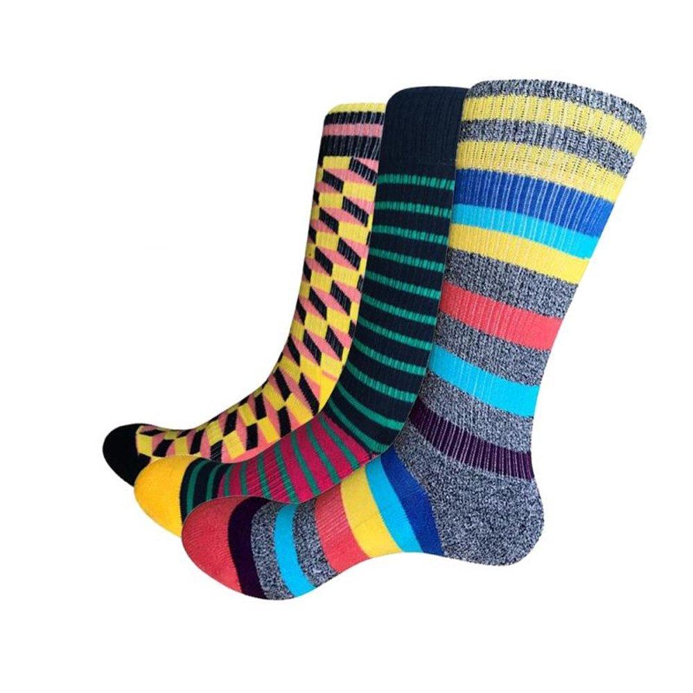 Uitsteke Men's Dress socks Colorful Long Argyle Striped Thick Winter Warm Outdoor all Sports Hiking Trekking Cotton Socks 3Pack Gift Box