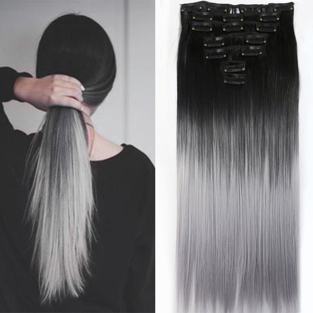 Neverland Beauty 16 clips 7 Pieces 60cm di clip in estensione parrucchino, estensione dei capelli, Lunghi Lisci Natural Black to Silver Grey NEVERLAND Beauty & Health