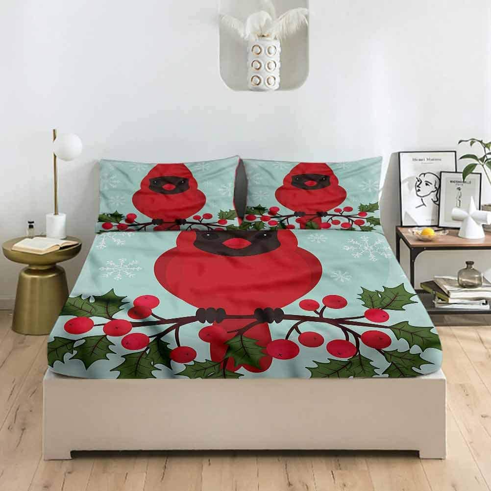 LCGGDB Cardinal Twin XL Size Fitted Sheet & Pillowcase Sets,Bird on a Branch Berries Deep Pockets Bedding Fitted Sheets-1 Fitted Sheet with 2 Pillow Cases for Boys & Girls Bedding
