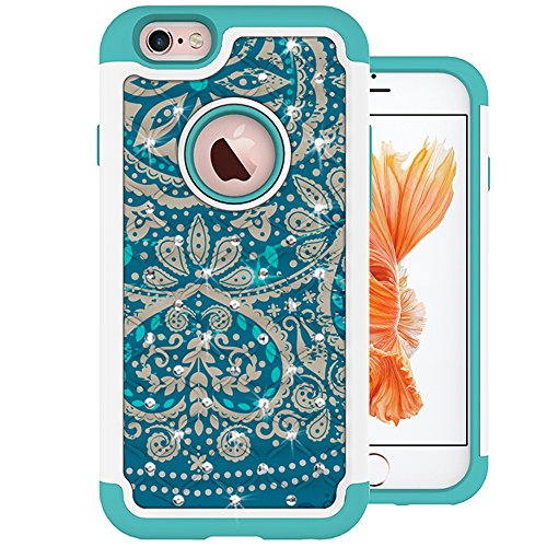 MagicSky iPhone 6s Case, [Shock Absorption] Studded Rhinestone Bling Hybrid Dual Layer Armor Defender Protective Case Cover for iPhone 6 (2014) / iPhone 6s (2015) - Flower2
