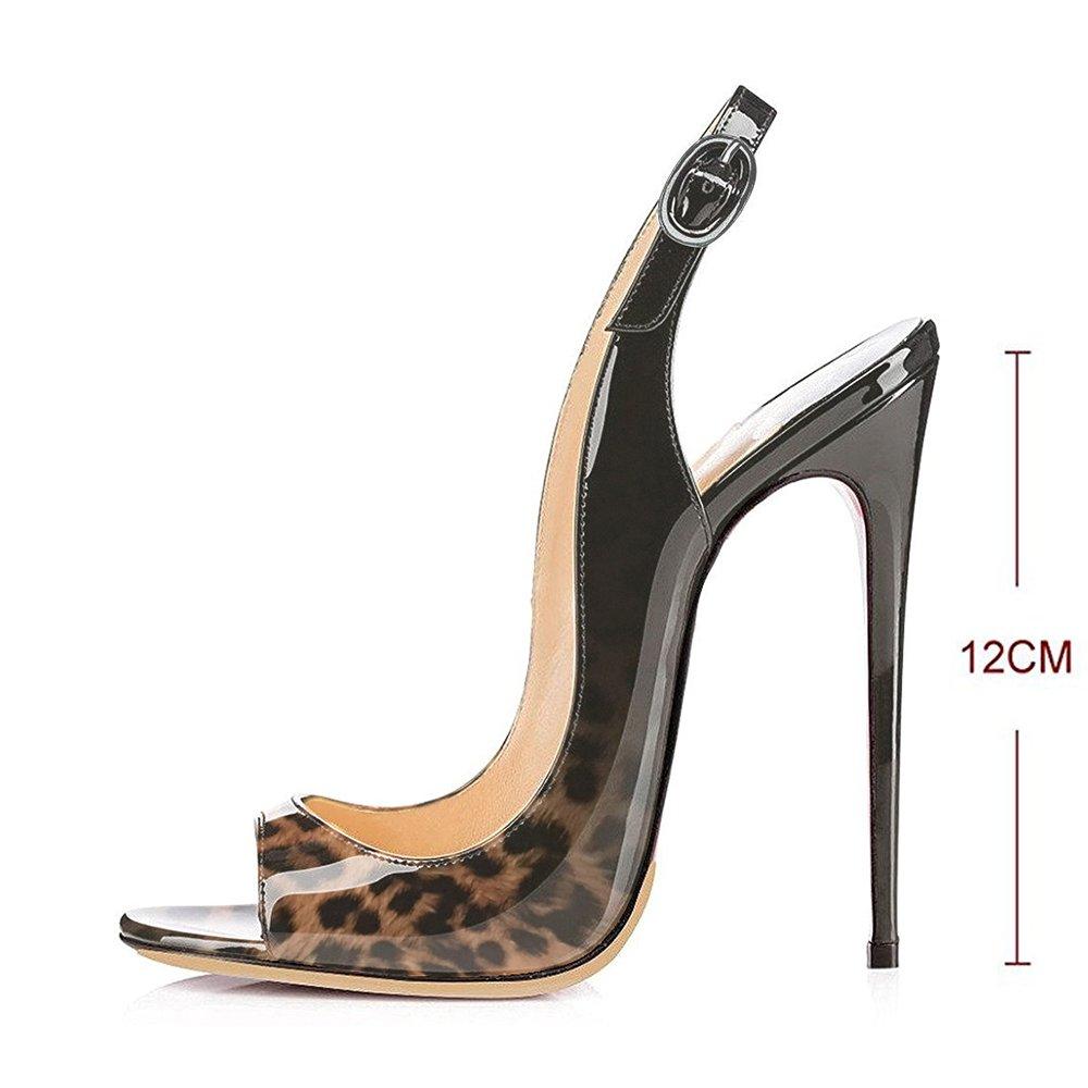 Modemoven Women's Patent Leather Pumps,Peep Toe Heels,Slingback Sandals,Evening Shoes,Cute Stilettos B0716F2C91 6 B(M) US Leopard Black