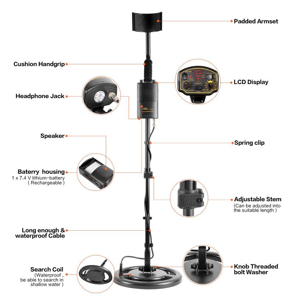 HOOMYA AR944 Detector de Metales subterr/áneos de Alta sensibilidad con Carcasa de bater/ía Recargable Tallo Ajustable Bobina de b/úsqueda Impermeable
