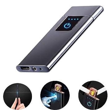 LayOPO - Mechero Recargable USB con Huella Dactilar, 0,15 Pulgadas, Ultrafino, portátil, eléctrico, Resistente al Viento, Encendedor de Plasma sin ...