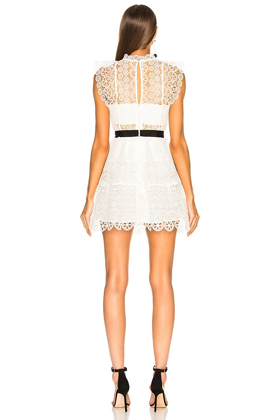 5ca54af1eb8d DIOR BELLA White Circle Floral Lace Tiered Mini Dress at Amazon Women's  Clothing store: