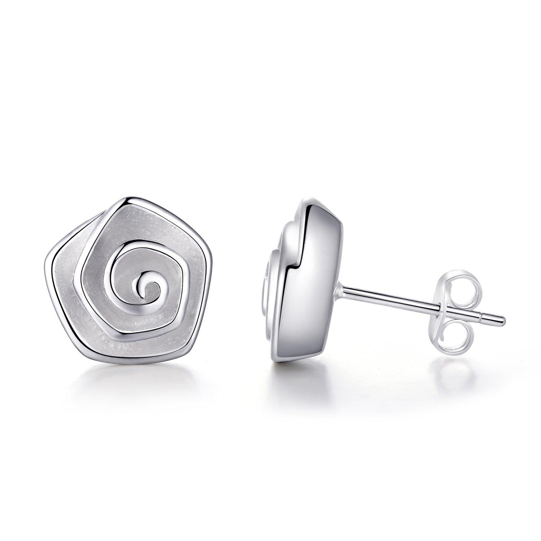 EVERU Flower Stud Earrings Sterling Silver, 4 Styles Options, Rose   Sunflower   Daisy   Lotus (Rose)