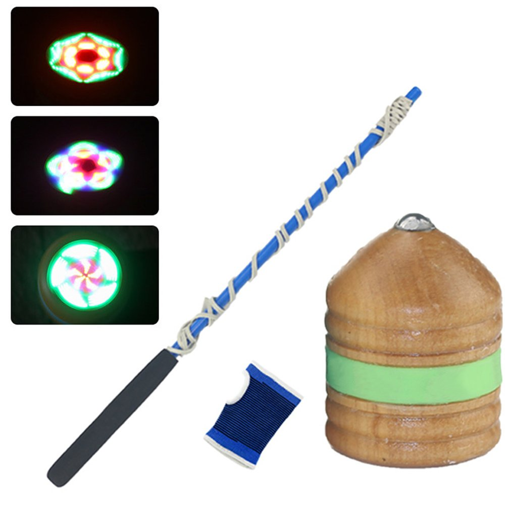 iLOVEPandas Wooden Gyro with LED Light Decompression Spinning Toys Chinese Traditional Sports Toy Set (Children Style)