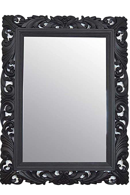 2a0dbacefcd1 4FT quot  X 3FT quot  (122cmx92cm) Large Black Framed Hairdressors Salon  Mirror Carved Solid