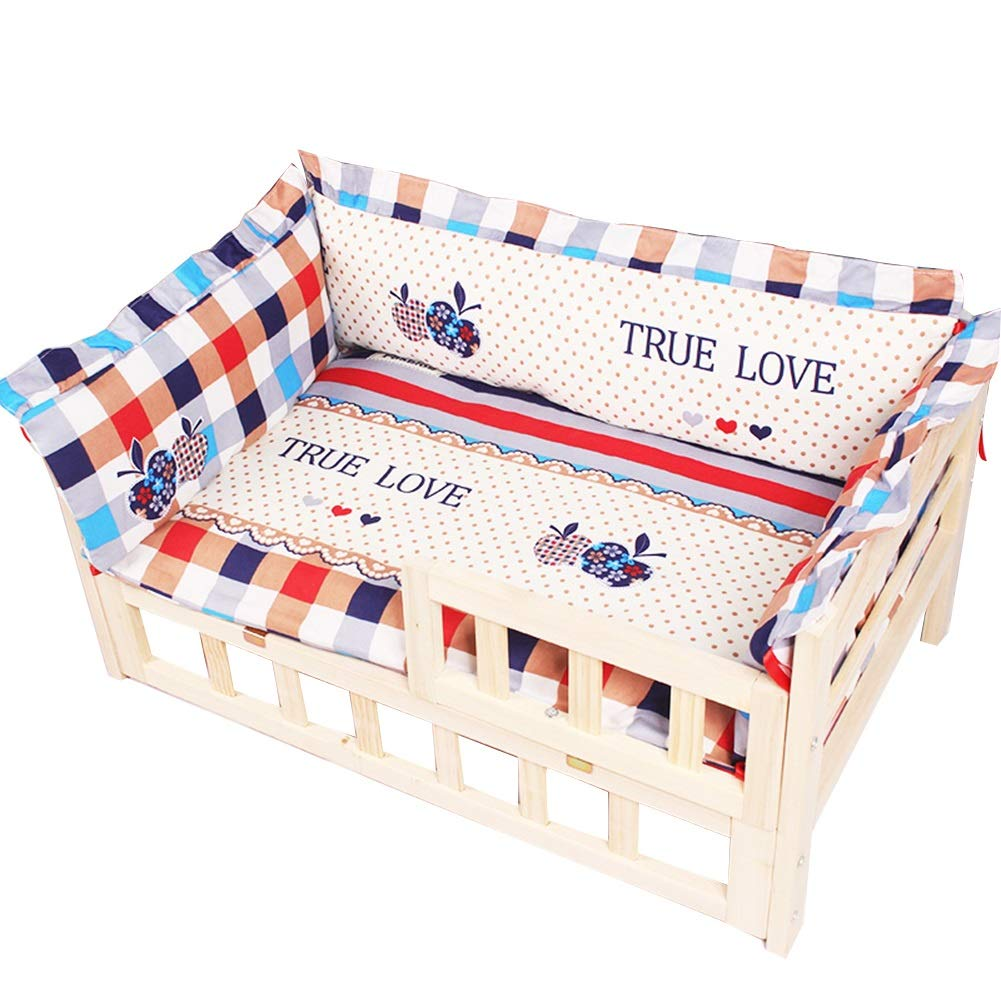 80x50x40cm Large Medium Dogs Bed with Thick Pad, Solid Wood Fiberboard Pet Bed, Pet Bed Frame for Indoor Or Outdoor Use (Size   80x50x40cm)