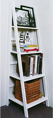 SCOTT - Mueble escalera de 4 estanterías - color blanco: Amazon.es: Hogar