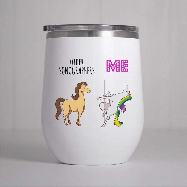 Sonographer - Vaso de vino para sonógrafo, diseño de ecografía, taza de vino divertida para sonógrafo, doble pared, acero inoxidable, sin tallo, aislante, taza de vino de 12 onzas