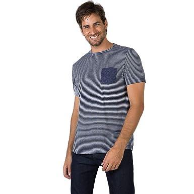 T-Shirt Com Bolso Listrada Azul Marinho Azul Marinho GG  Amazon.com ... 76691860505cd