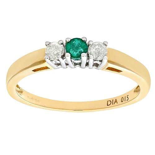 Naava Anillo para Mujer de Oro Amarillo 9K con Esmeralda y Diamantes Talla 7