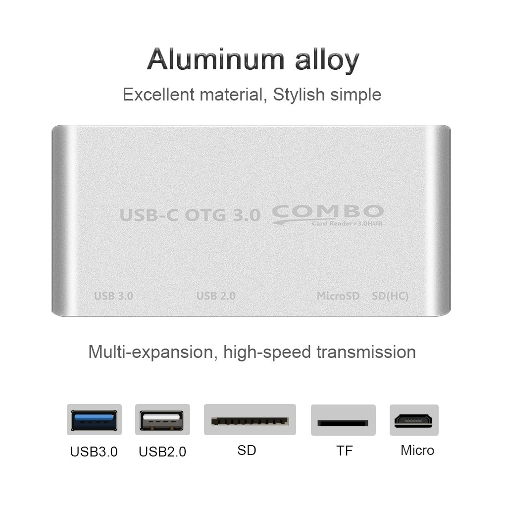 Mengonee 5 en 1 USB-C Hub USB 3.1 Type C HUB en alliage daluminium Lecteur de cartes multi Spliter pour OTG macbook air de type C Hub