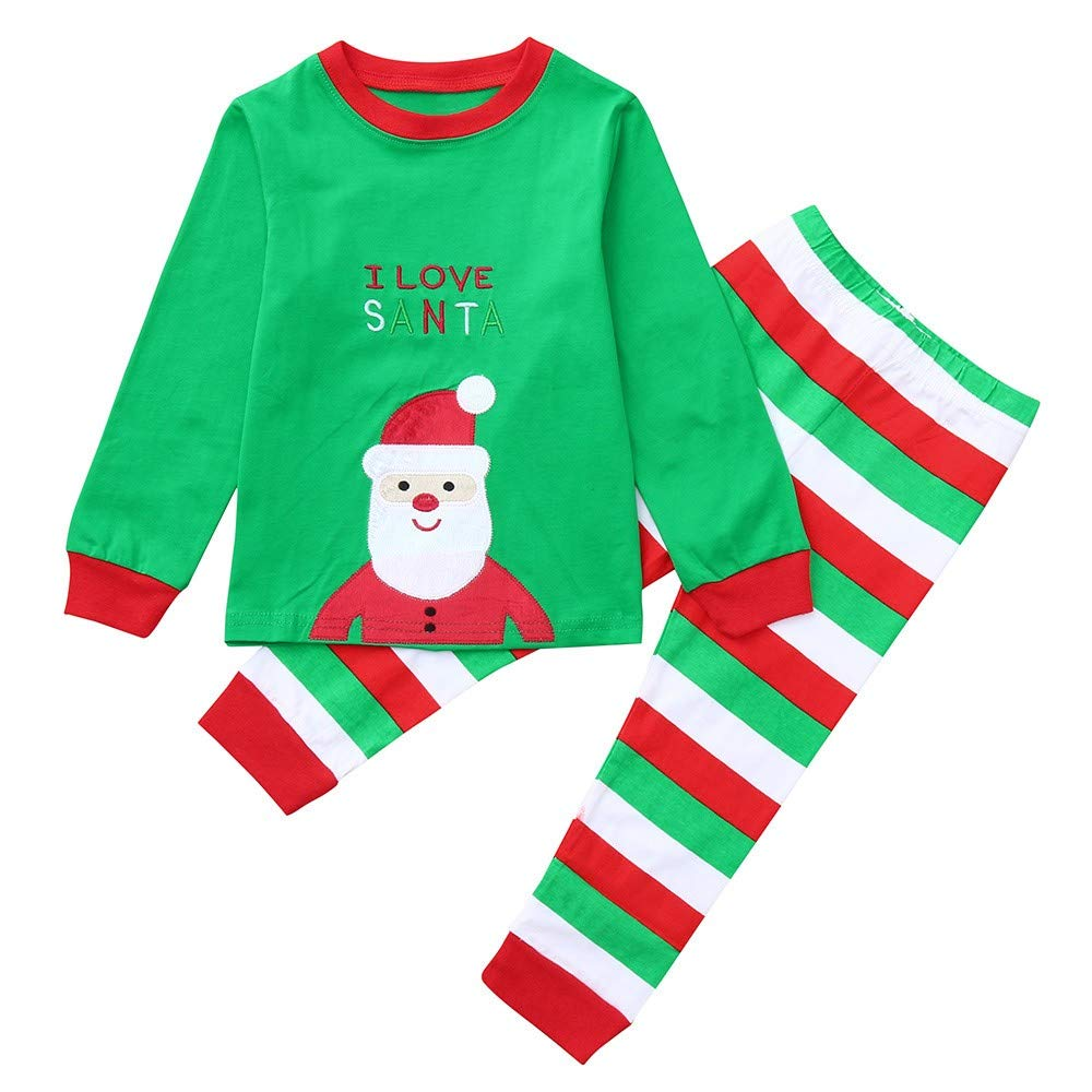 911d463fcf Amazon.com  2Pcs Christmas Outfits Kids Boy Girl Toddler Baby Cartoon Santa  Print Tops + Striped Pants Clothes Set  Clothing