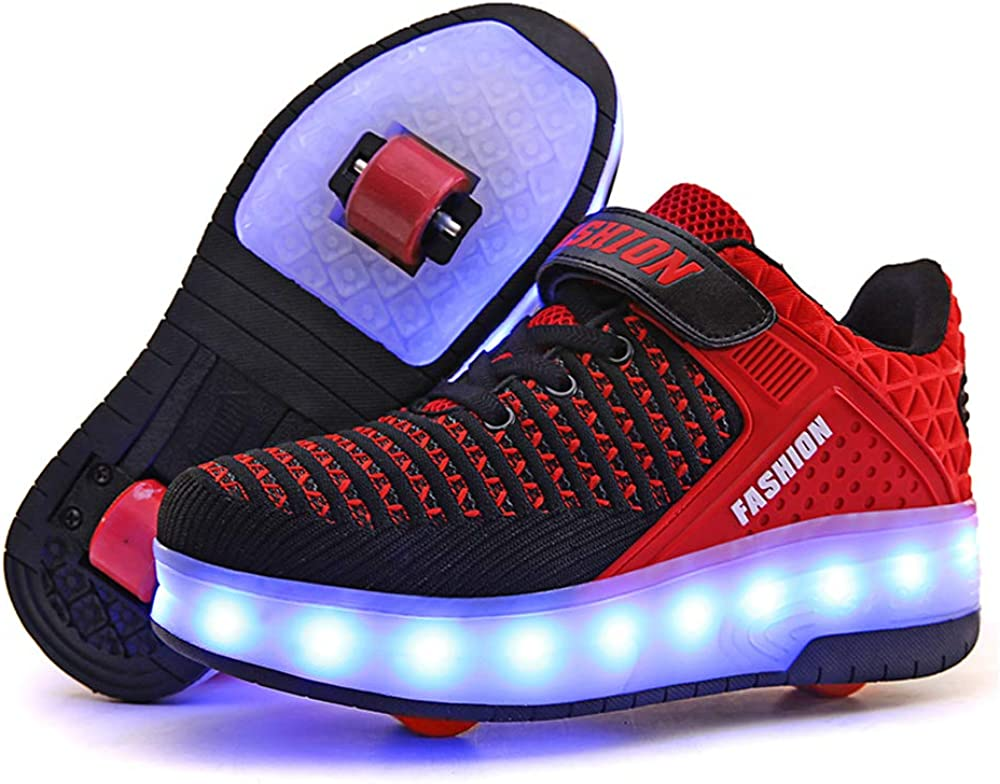 Amazon Com Aikuass Usb Chargable Led Light Up Roller Shoes Wheeled Skate Sneaker Shoes For Boys Girls Kids Sneakers