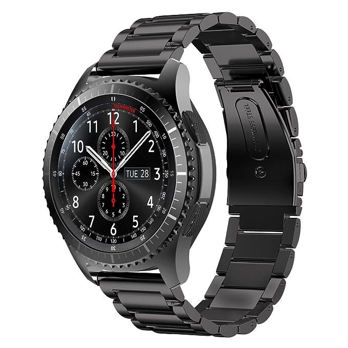 Sundaree Compatible con Gear S3 Frontier Correa,22MM Negro Acero Inoxidable Reemplazo Banda Pulseras de Repuesto Correa de Reloj Inteligente Correa ...