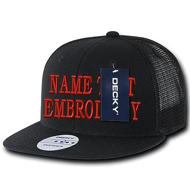 3e6681ea5b6d2 Custom Embroidery Trucker Hat Personalized Flat Bill Mesh Embroidered Snapback  Cap - Black