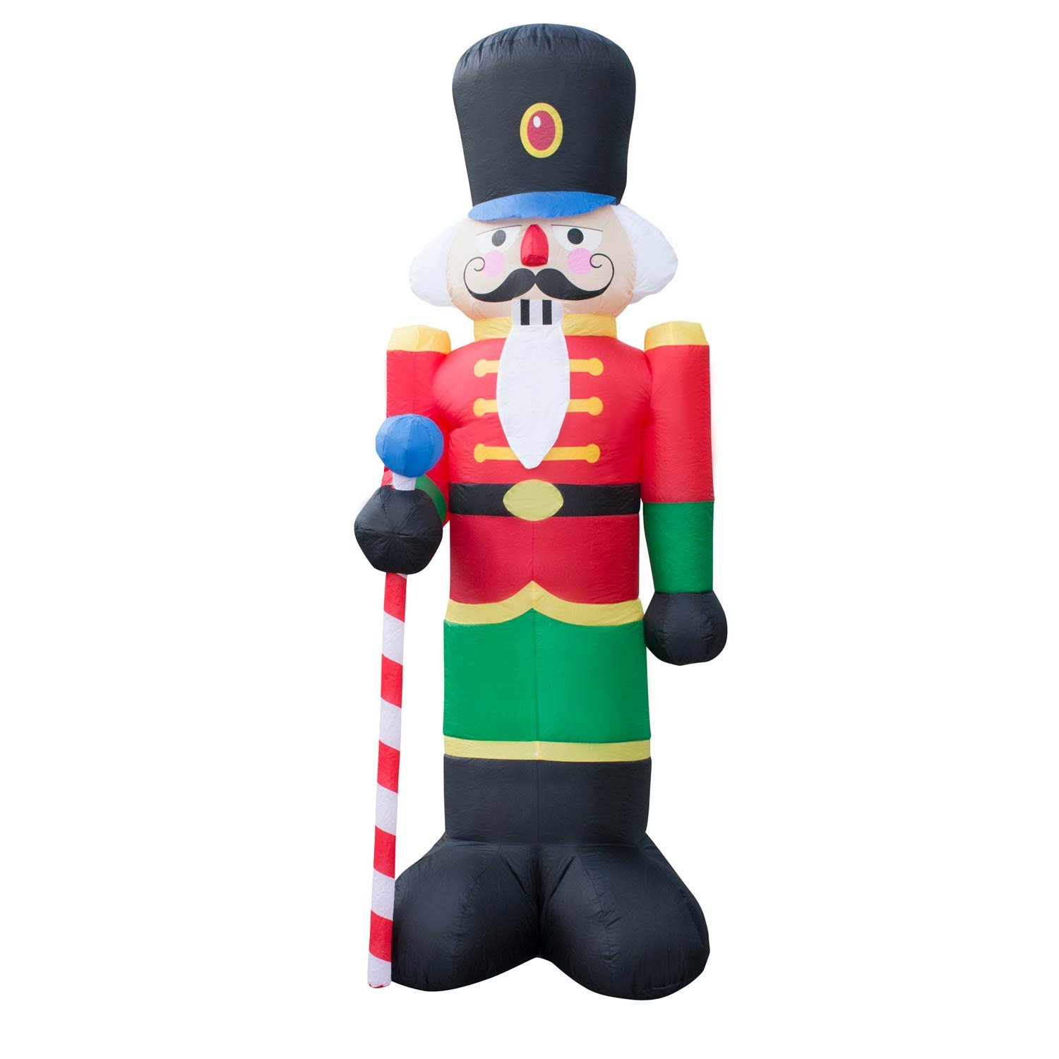 Holidayana Christmas Inflatable Giant 8 Ft Nutcracker Christmas Inflatable Featuring Lighted Interior//Airblown Inflatable Christmas Decoration With Built In Fan And Anchor Ropes