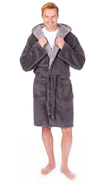 937151da814 Mens Super Soft Luxury Fleece Hooded Dressing Gown. Medium - 5XL - Grey or  Navy (3XL