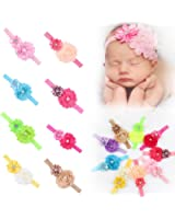 ROEWELL Baby's Headbands Girl's Cute Hair Bows Hair bands Newborn headband (9 Pack)