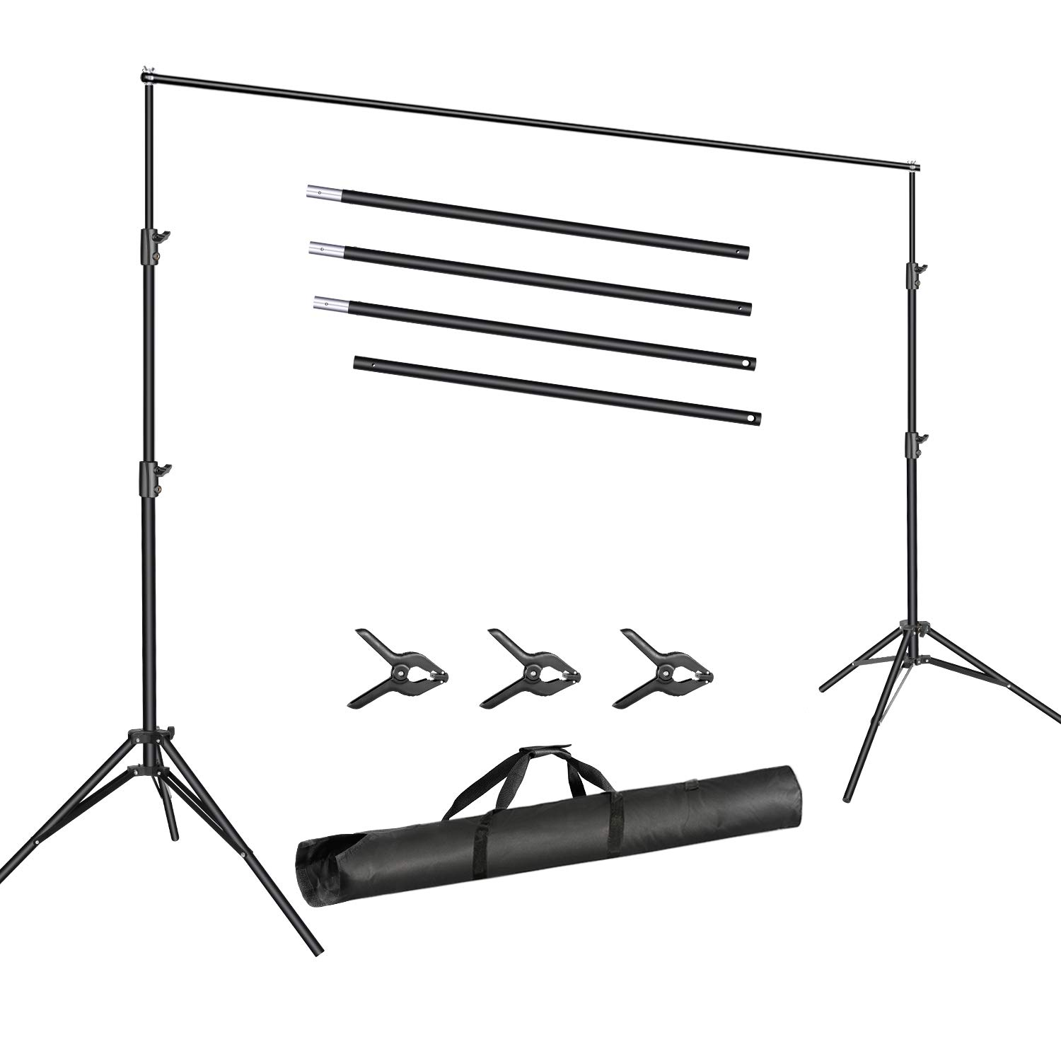 Neewer Photo Video Studio 10ft/3m Wide Cross Bar 6.6ft/2m Tall Adjustable Background Stand Backdrop Support System Kit with 3 Backdrop Clamps and Carrying Bag for Portrait Product Video Photography
