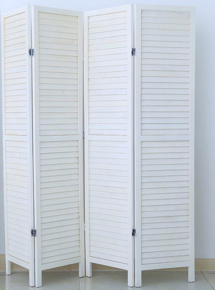 PEGANE Biombo persiana de Madera de 4 Paneles, Colorido con Blanco ...