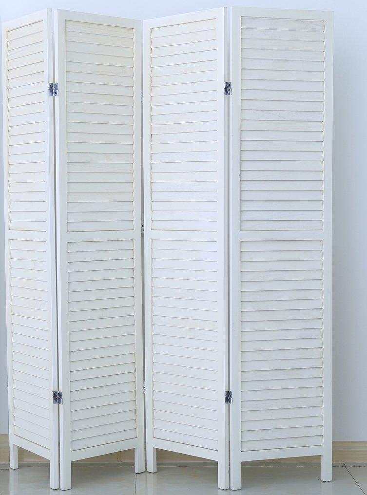 PEGANE Paravento persiana di 4 pannelli in legno, colore bianco verniciato - Dim : A170 x L160 cm