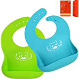 DREAM BEAR® Bacteria Resistant Soft Silicone Baby Bibs,Easy To Keep Clean.Set of 2Pack (Lime Green&Turquoise)