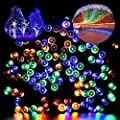 Blusow Solar String Lights 100LED Outdoor Fairy Lights, 55ft8 Feature Courtyard, Garden, Fence, Stairs, Windows, Christmas, Holiday Decorations, Multi Color