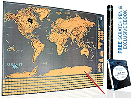 Amazon Com Scratch Map Of The World Scratch Off Map Travel Poster