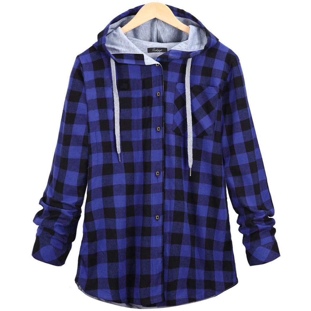 Women Plaid Hooded Jacket Long Sleeve Lattice Print Button Closure Shirt
