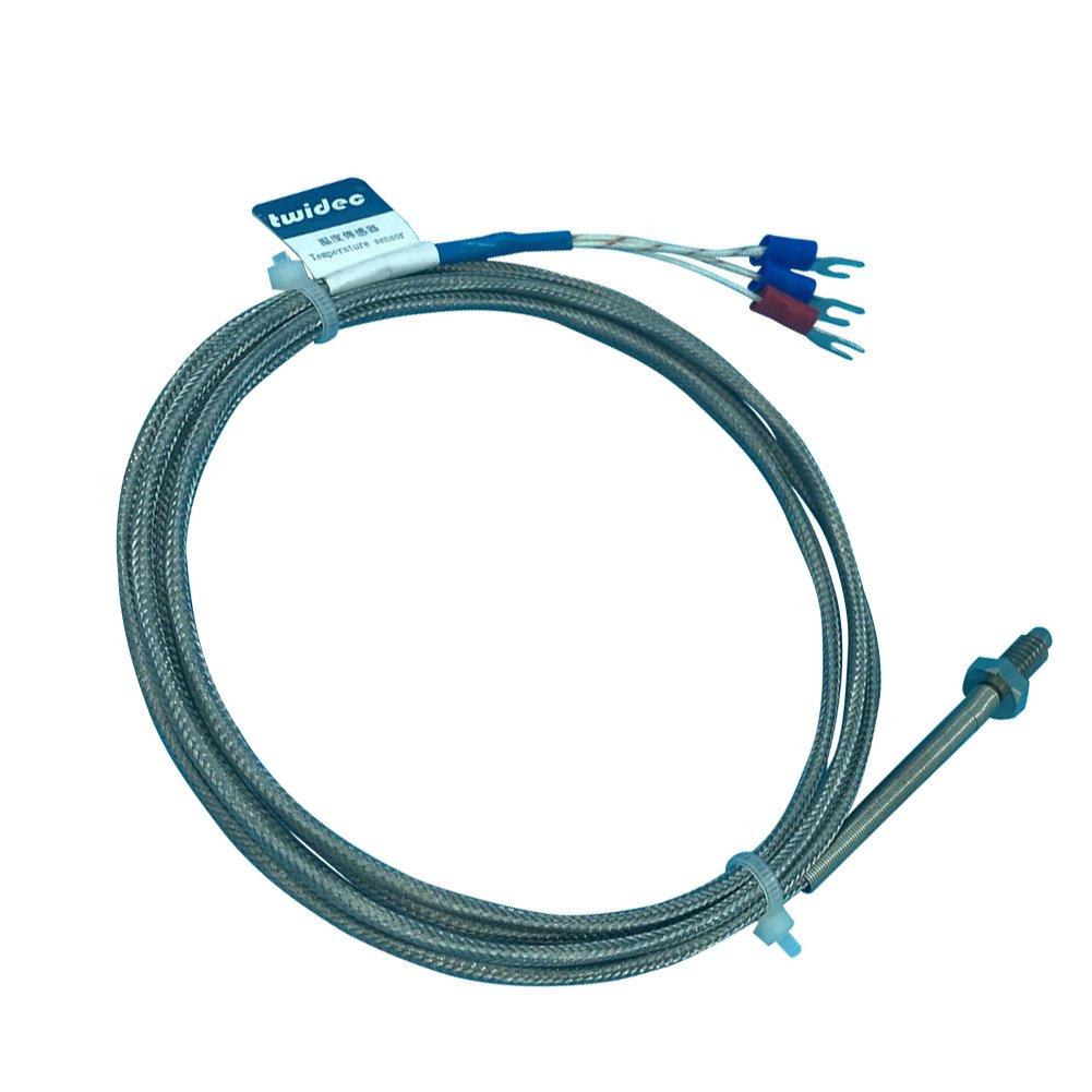 Twidec Type PT100 Screw Temperature Sensor Temperature Range: -200-350°C W1/4 inch thread Lead Length: 2M (78.74in)