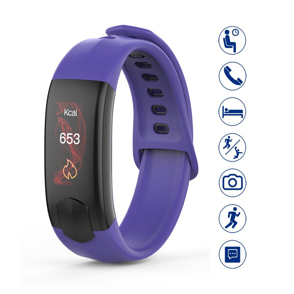 MIYA Smart Bracelet Pedometer Calories Monitor Sport Watches Waterproof Heart Rate Monitor Blood Pressure Fitness Tracker Clock Colorful Touch Screen Smart Watch for Smartphones Gift-Blue