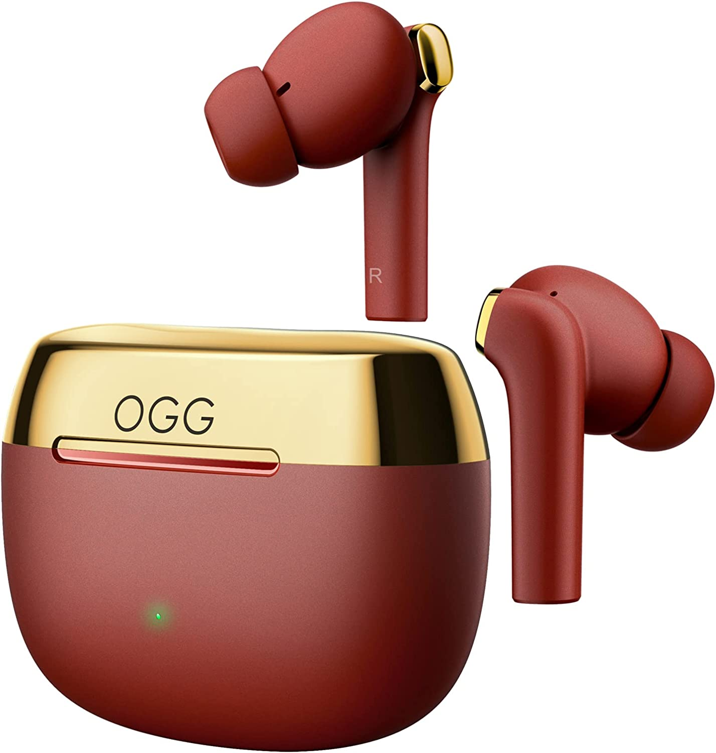 OGG K6 Wireless Earbuds ANC Bluetooth Earphones, Active Noise Cancelling Headset, Wireless Bluetooth Earbuds with Mart Touch,8 Hours Playback and 55 Extra Hours of Charging Case (Red)